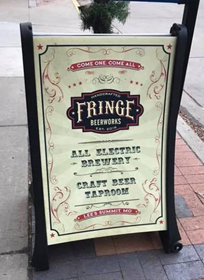 Fringe Beerworks Custom Sidewalk Signage