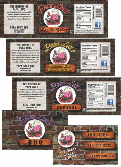 Papa Lou's BBQ Label and Business Card Designs.